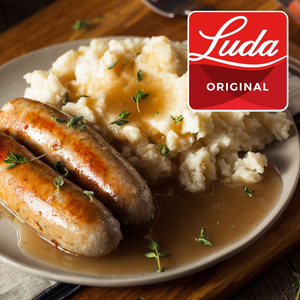 sausages and mash covered in a LUDA Original Chicken Gravy
