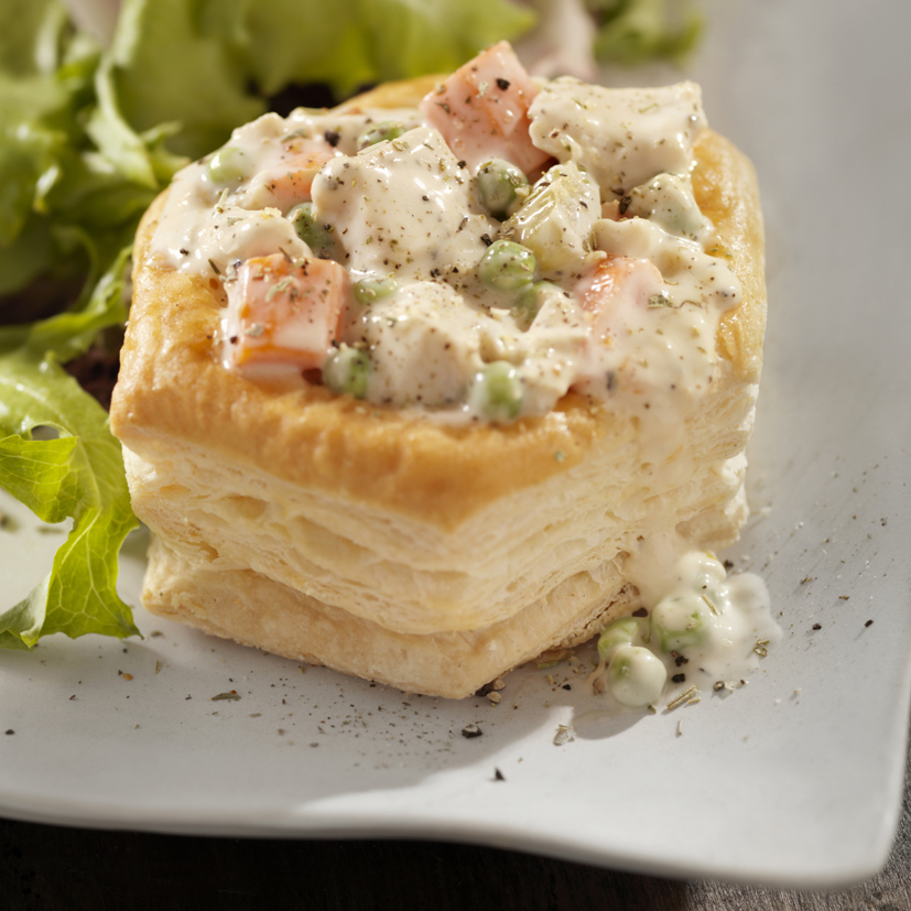 Chicken a la King in Puff a Pastry Shell